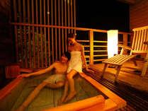 【寝湯付客室】テラスの寝湯に浸かりながら、まどろむ至福のひと時を。