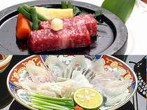 【黒毛和牛熱々陶板焼き&山口のふく刺】お肉にふくに。人気の2大グルメ満喫の味覚プラン