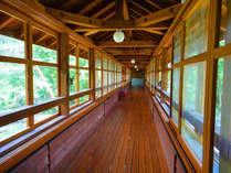 *施設一例/宿泊棟から温泉棟へは、川の上にかかる渡り廊下を通って向かいます。せせらぎの音に癒されます。