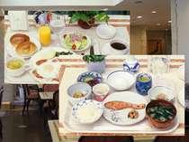 朝食は洋食or和食で選択。 どちらも日替わりで連泊でも安心!ボリュームあります!!