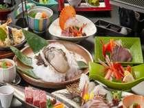 山陰産岩牡蠣宝楽焼き&白いか造り+特選黒毛和牛A5付き会席(お部屋食)