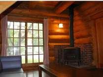 ログハウスの暖炉