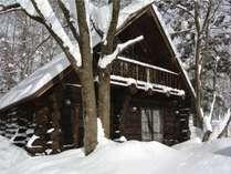 冬のログハウス