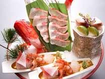 当館一番人気★スーペリアコース【風月】一例。季節の鯛を姿造りでご用意。(※イメージ)