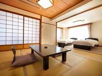 【和洋室(和室8畳+ツインベッド)】開放感のある和洋室でのんびりステイ♪