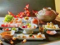 天然本クエ鍋プランの夕食です♪10月~4月までの限定!さっぱり自家製柚子ポン酢でどうぞ!(一例)