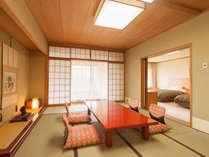 【禁煙和洋室】和室12畳とツインルームでゆったり。バス・洗浄機付きトイレ・無料Wi-Fi接続可。