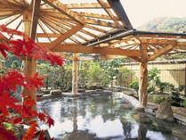 【岩露天風呂(大浴場 紅葉の湯)】紅葉の露天風呂。