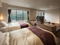 【禁煙和洋室46.9平米】120cm幅シモンズ社製セミダブルベッド+琉球畳の和室。