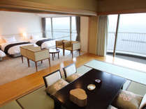 ◆デラックス和洋室(7.5畳+3ベッド/エグゼクティブフロア)足を伸ばしてゆったりくつろげます。