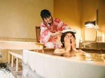 貸切露天風呂:カップルでご家族でどうぞ。