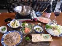 蕎麦とみゆきポークと長野県産ワイン