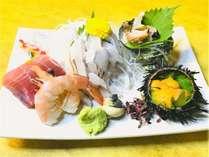 【紀州路会席】お造り 太刀魚 まぐろ 海老 さざえ 生雲丹(お料理一例)