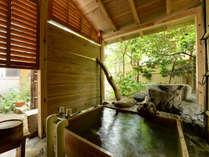 *源泉掛け流し露天風呂付和室14畳/客室露天風呂の一例でございます