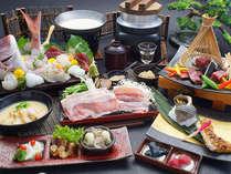 雅コース:鯛尾頭月豪華盛やタラバ蟹雲丹味噌焼きをメインとした当館最高ランクのお食事コースです。