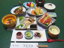 【夕食一例】旬の素材にこだわった懐石料理。地産地消を心掛けた手作りの味をお楽しみください