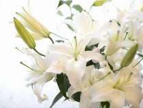 フロントロビーでは百合のお花が皆様をお出迎えしております♪
