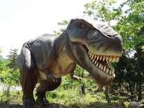 勝山恐竜の森に、この春オープンしたディノパークのティラノサウルス。実物大の恐竜たちが君を待っている!