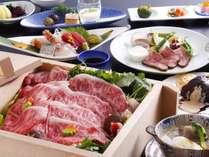 【夕食 熊野牛尽くし会席】和歌山県特産「黒毛和牛」を堪能できる会席(メインがせいろ蒸しの一例)