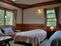ゆったりとしたソファーもついているツインの部屋です。