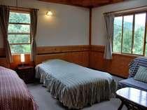 ゆったりとしたツインの部屋で窓から緑豊かな景色が見られます。