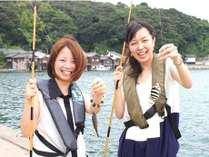 """""""お気軽簡単!目の前の旬をおすそ分け""""伊根の魚釣り体験☆天然温泉"""