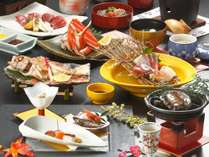 しまね和牛焼きしゃぶ、のどぐろ塩焼き、切り蟹などがついた、旬会席「八雲」(11月~3月のメニュー/例)