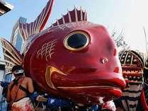 14台の曳き山の中で1番人気の鯛山は真っ赤な肌とまん丸の黒い目が可愛いと言われてます。
