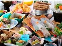 呼子名物のイカや地元の旬の魚を使ったお魚満喫のプランです。