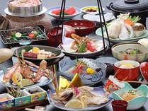 人気の彩り会席。鯛・蟹・牛のトリプル焼きに名物白山堅豆腐が付いてます。