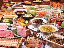 黒毛和牛ステーキ・和牛しゃぶいしゃぶメインの豪華ディナーバイキング。60種類の料理が並びます☆★