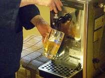 """湯上りには、生ビールが一番♪""""湯上がり 生ビール"""" 夕方18時までのおもてなし。品切れ御免!"""