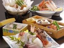 ~夕食の一例~お造りは、5種盛りです☆内容は季節により変わります。