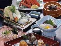 季節毎に変わる日本海の新鮮な魚介料理をメインにした会席料理をどうぞ♪※写真は一例