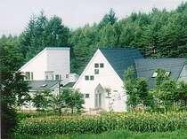 周辺の緑に映える白い建物外観