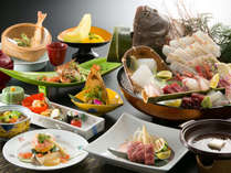 ~彩姿造り会席~豪華な姿造りがつく会席料理、美しい盛り付けも目で楽しんでください。