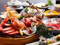 ~紅ズワイの船盛会席~境港の名物紅ズワイは豪快に船盛!松茸は贅沢にハモと網焼き、鳥取県産牛はスキ焼で