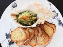 洋食 大人気ホラ貝のガーリック焼き