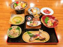 *竹コース/地元の食材をふんだんに使用したバランスのちょうどいい夕食です。