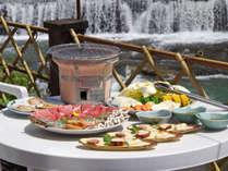 *猪名川を眺めながら、心地よい川風を感じながらのBBQ。日帰りのお料理です。