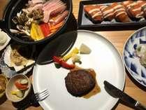 【流氷コース】お手軽に、知床の地の味を一度に味わえるコース。お肉も海の幸も両方味わえます