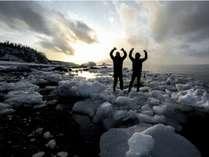 宿のすぐ前の海に流氷が訪れることも