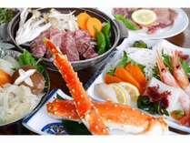 タラバ蟹と仙台牛陶板焼き