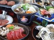 松島産焼カキと仙台牛陶板焼きプラン(一例)