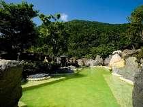源泉秘湯の露天風呂はなんと9種!写真はエメラルド温泉「うぐいすの湯」(混浴・湯あみ着用)。