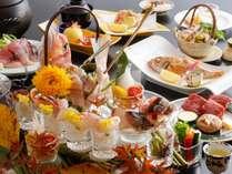 海味求真会席料理の一例(漁模様により日毎に料理内容は変わります)