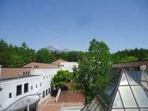 屋上から見渡す本館と中庭。森の向こうに八ヶ岳も望めます。