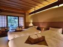 【胡桃】京町ツイン和室。寛ぎの空間にお庭をご覧いただけるお部屋。無線LAN完備