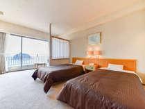 *【ツインルーム】全室オーシャンビュー。三河湾と竹島を望む洋室です
