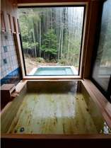 【産土亭】2017年1月リニューアル、源泉かけ流し露天風呂付客室の内湯(檜風呂)の一例
